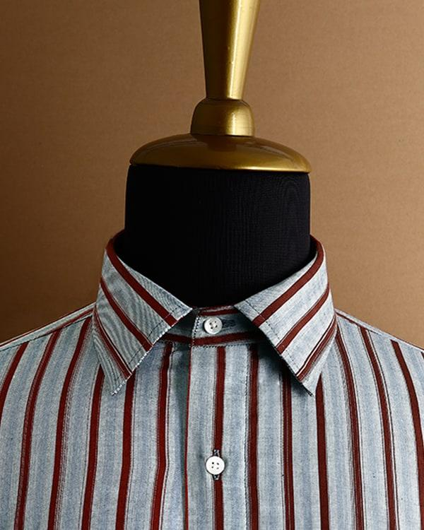 Grey with Maroon Striped Poplin Shirt