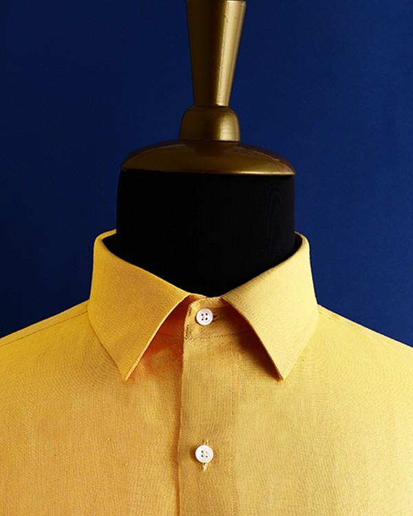 Mustard Yellow Linen cotton shirt