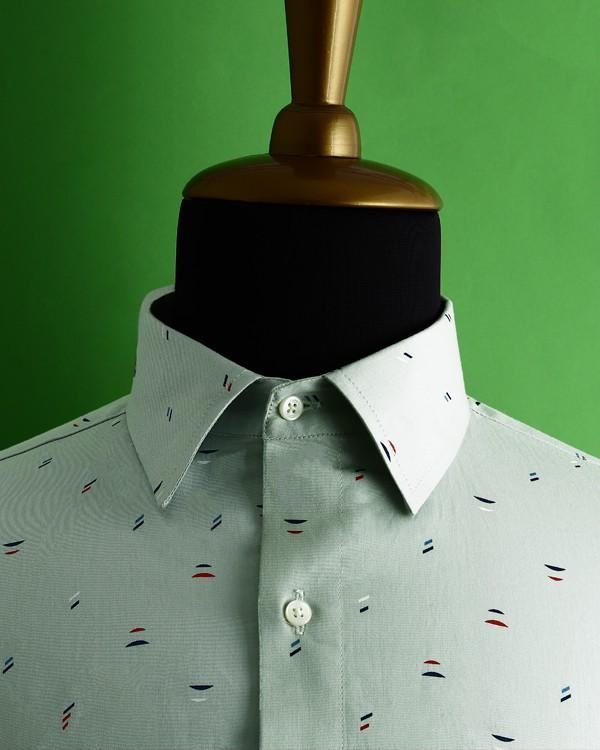 Olive Green Printed Satin Shirt