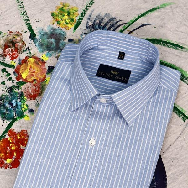Sky Blue Striped Dobby Shirt