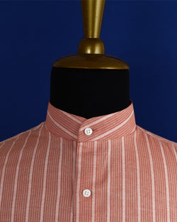 Melon Orange Striped Dobby Shirt