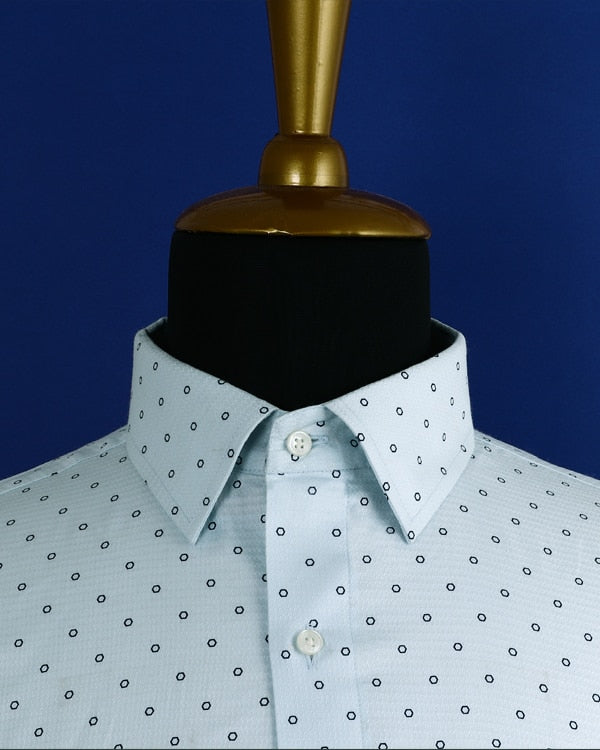 Sky blue Hexagon Printed Dobby Shirt