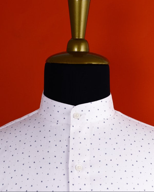 Bright white Triangle Printed Soft Satin Shirt