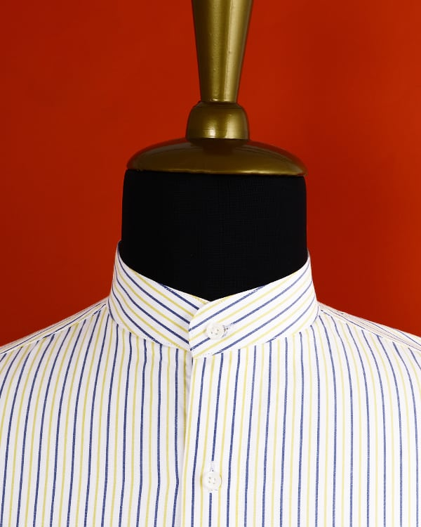 Yellow with blue Striped Poplin Shirt