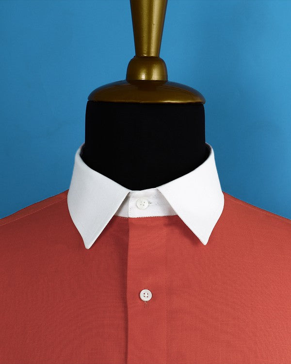 Fire Orange Luxurious Linen-cotton SHIRT