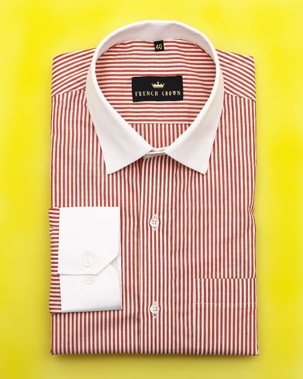 Red and white striped Poplin Shirt