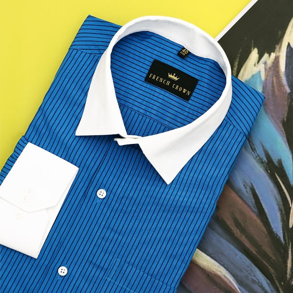 Olympic Blue striped Poplin Shirt