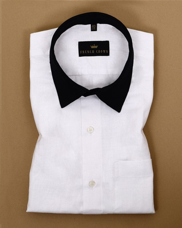 White with Black cuff-collar Linen-Cotton SHIRT