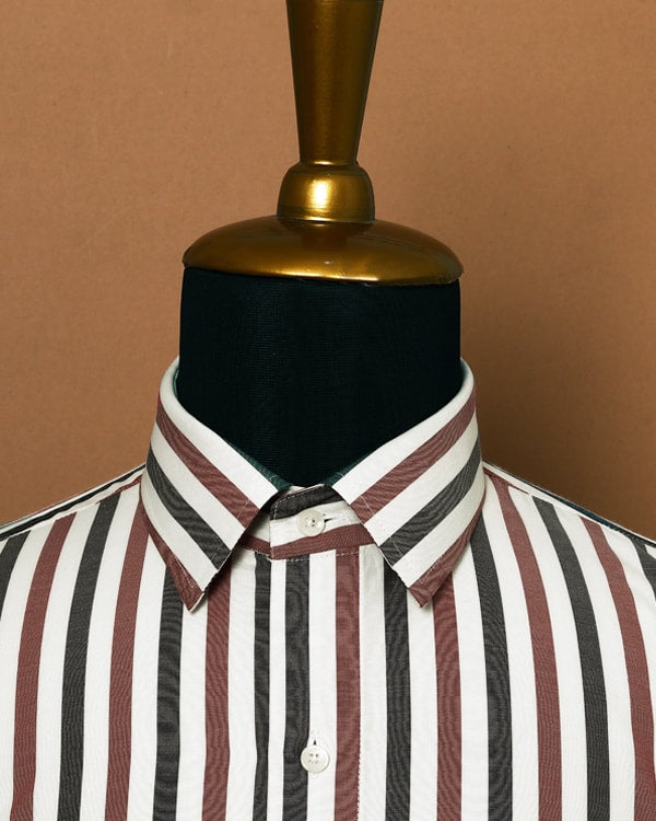Blue, Red and White Striped Poplin Shirt