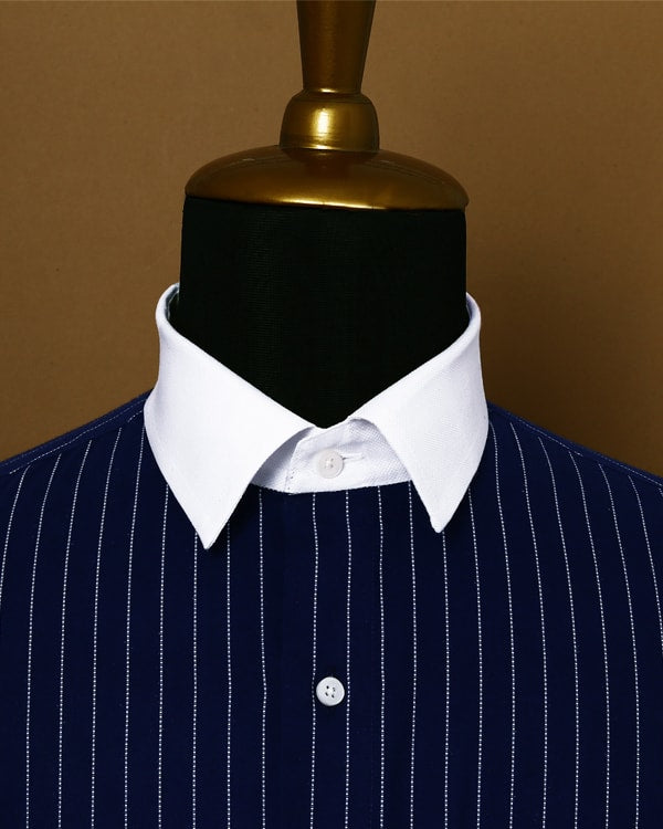 Navy Striped Ultra Soft Twill SHIRT