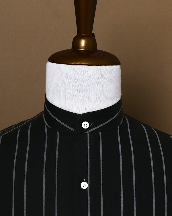 Metal Black Striped Poplin Shirt