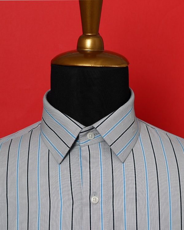 Silver Grey Striped Poplin Shirt