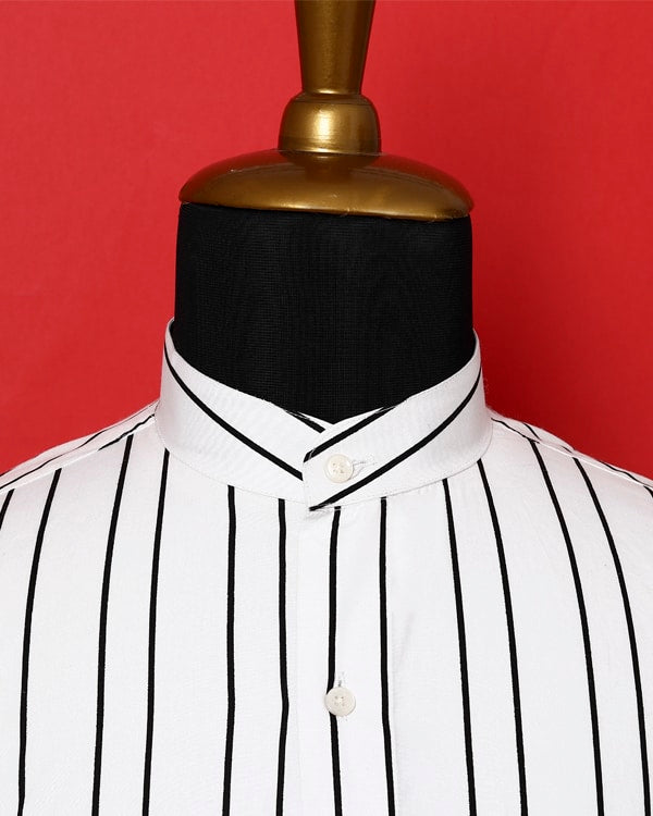 Bright White Striped Poplin Shirt