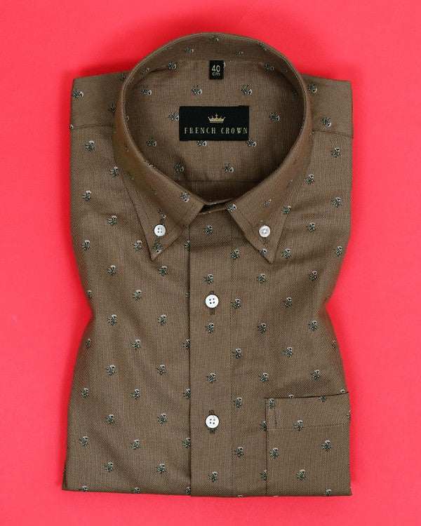 Soil Brown Printed Dobby Shirt