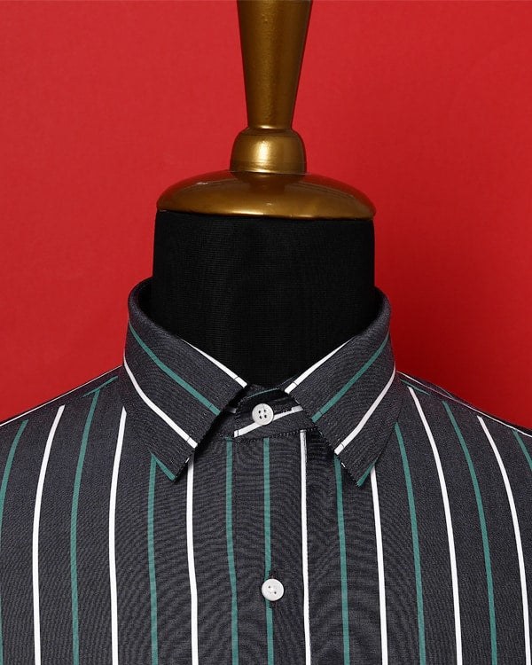 Coal Black Multi-Striped Poplin Shirt