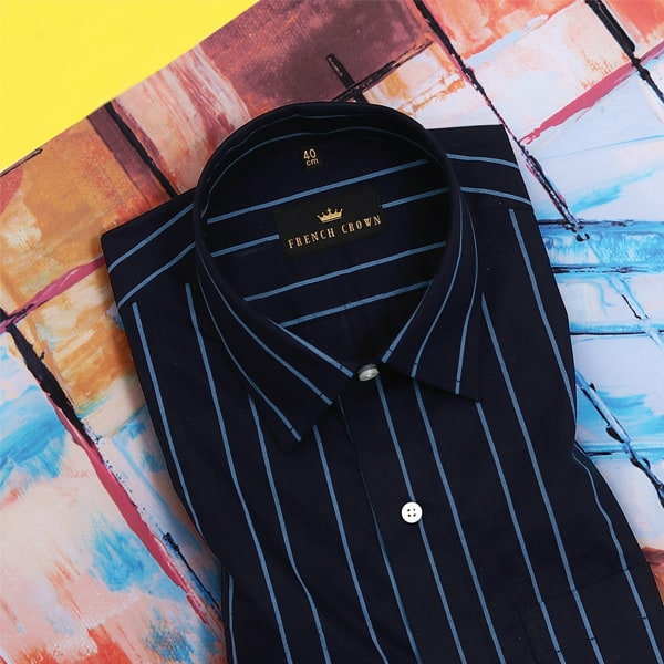Black with Blue Striped Poplin Shirt
