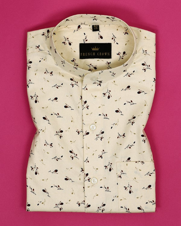 Egg Shell Cream Printed Dobby Shirt