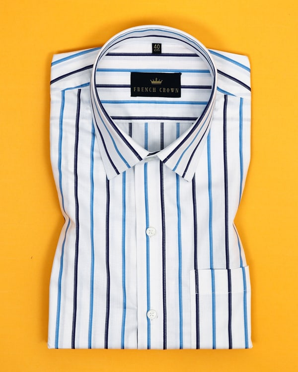 White Multi-Striped Poplin Shirt