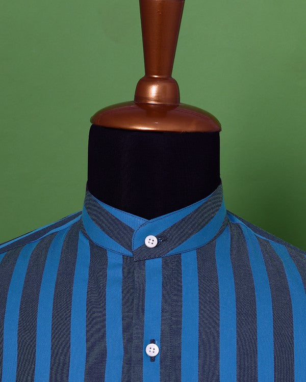Black with Royal Blue Striped Poplin Shirt