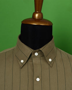 Russet Brown Striped Ultra Soft Twill SHIRT