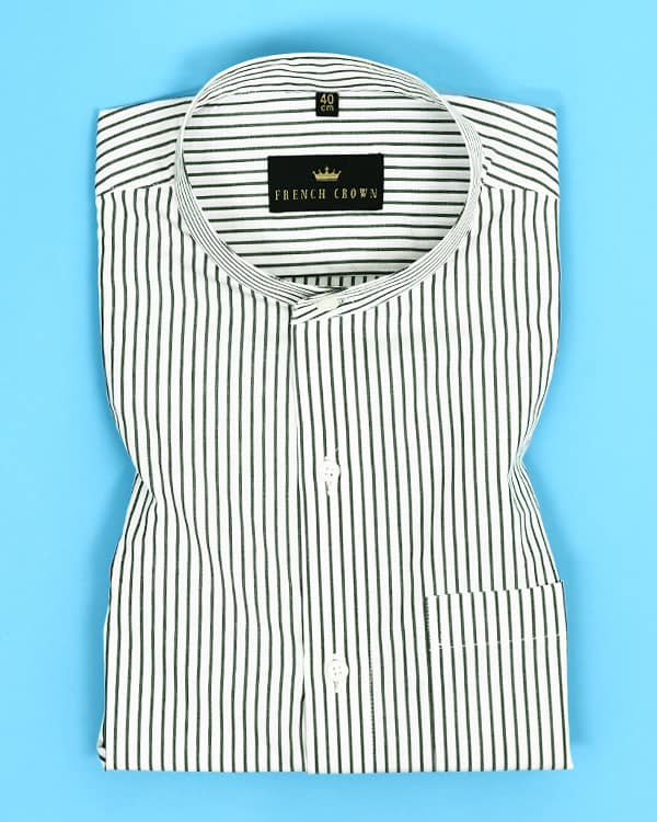 Green on white Striped Poplin Shirt