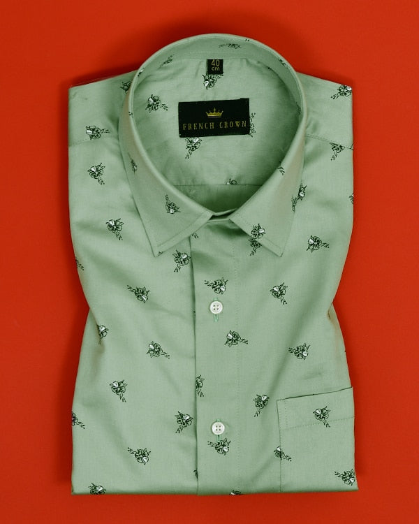 Sage Green Flower Printed Satin Shirt