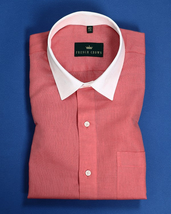 Candy Pink Corporate Luxury Linen-cotton SHIRT