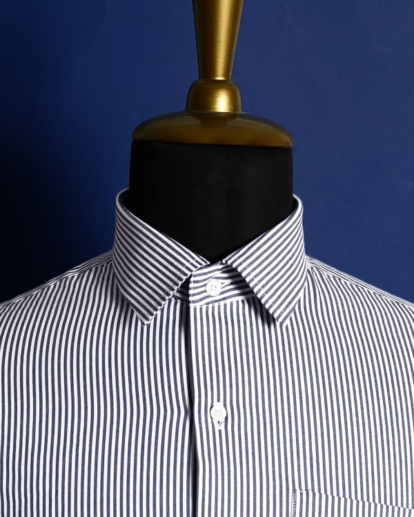 Grey and white Striped Twill SHIRT