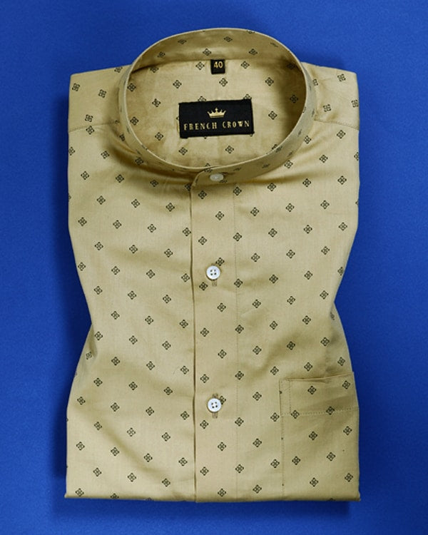 Biscotti Cream Printed Satin Shirt