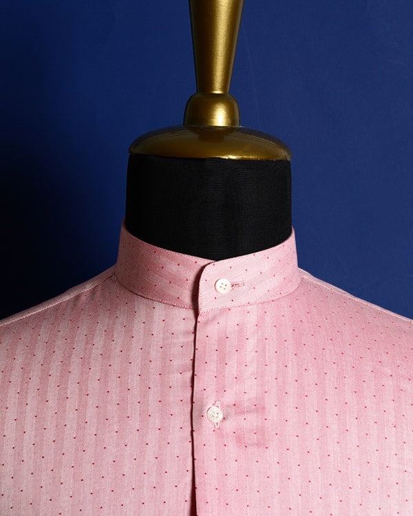 Blush Red Dotted Striped Herringbone SHIRT