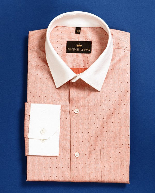 Sandstone Orange Dotted Striped Herringbone SHIRT