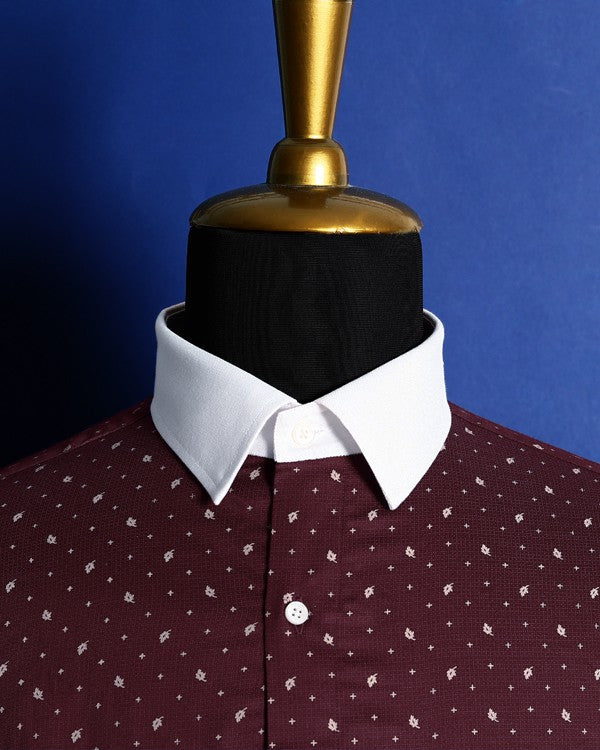 Mulberry Maroon Printed Satin Shirt