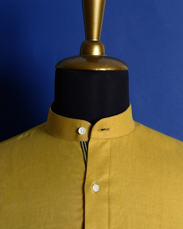 Canary Yellow Luxurious Linen-cotton SHIRT