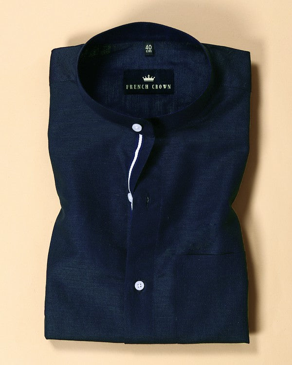 Navy Blue Luxurious Linen-cotton SHIRT