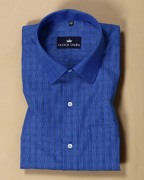 Persian Blue Checked Poplin Shirt