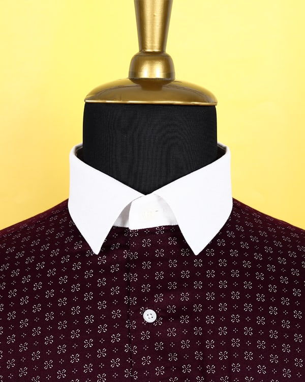 Dark Maroon Printed Satin Shirt