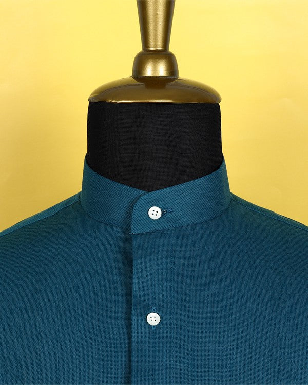 Cyan Blue Micro Striped Poplin Shirt