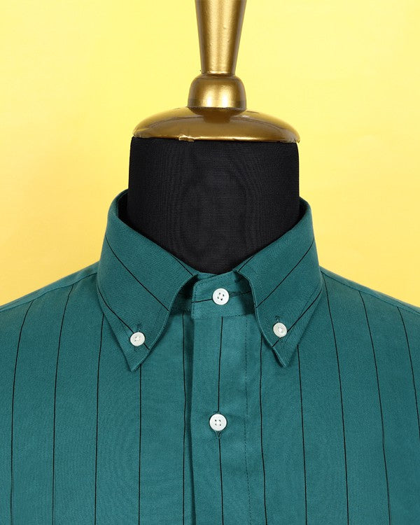 Peacock Blue Striped Ultra Soft Twill SHIRT