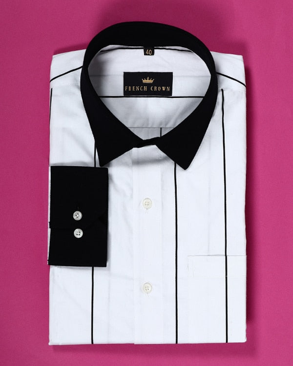 Bright White Striped with Black Cuff-Collar Poplin Shirt