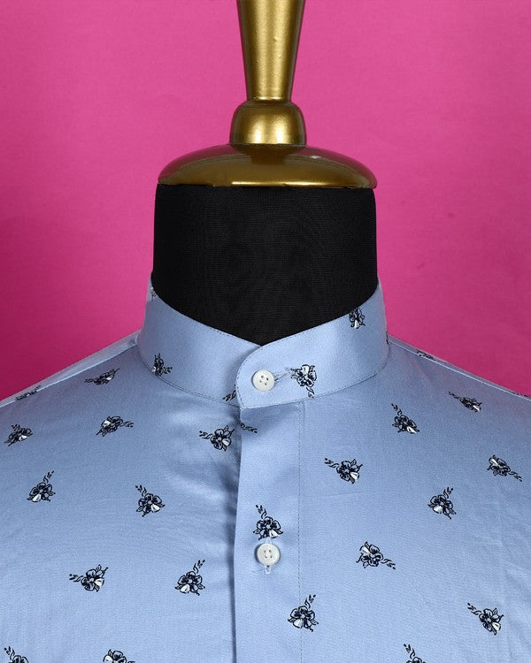 Sky Blue Printed Satin Shirt
