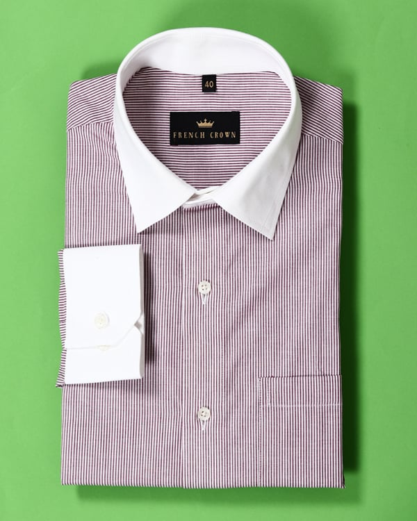 Maroon Striped Poplin Shirt