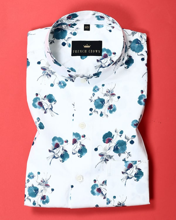 Bright white Flower Printed soft Satin Shirt