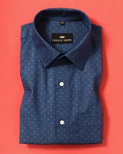 Slate Blue with Squares Dobby Shirt
