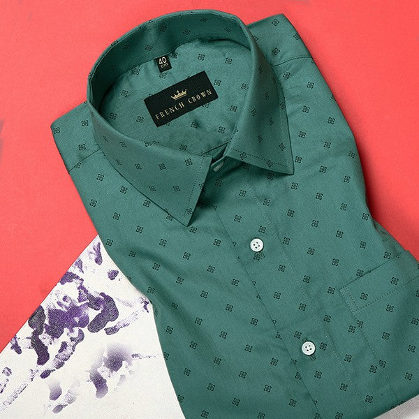 Pine Green Printed Satin Shirt