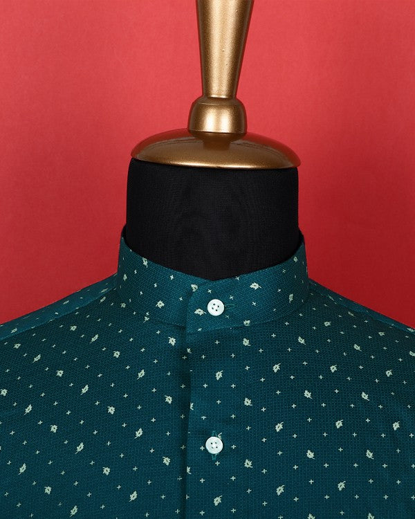 Peacock Blue Maple Leaf Printed Satin Shirt