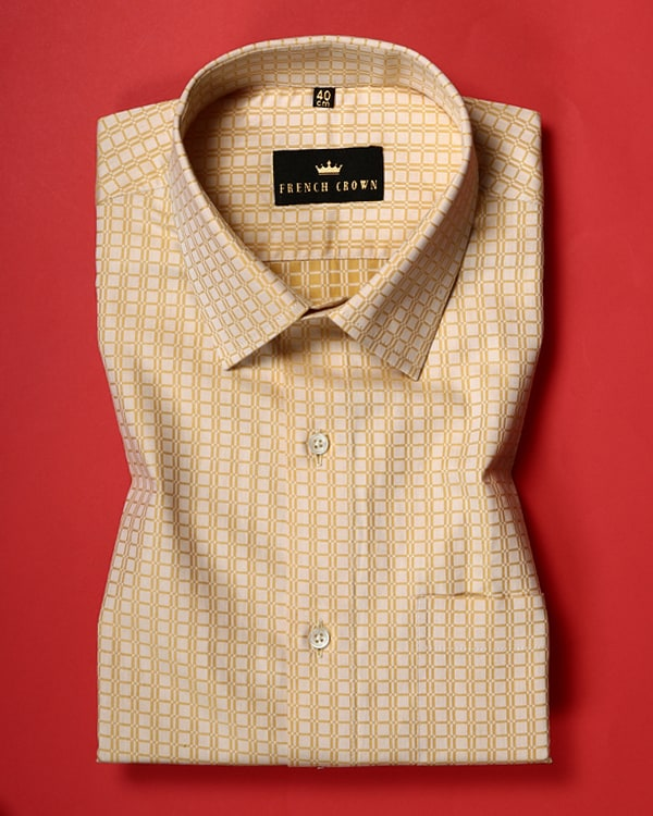 Bumblebee Yellow Square Giza Cotton Dobby Shirt