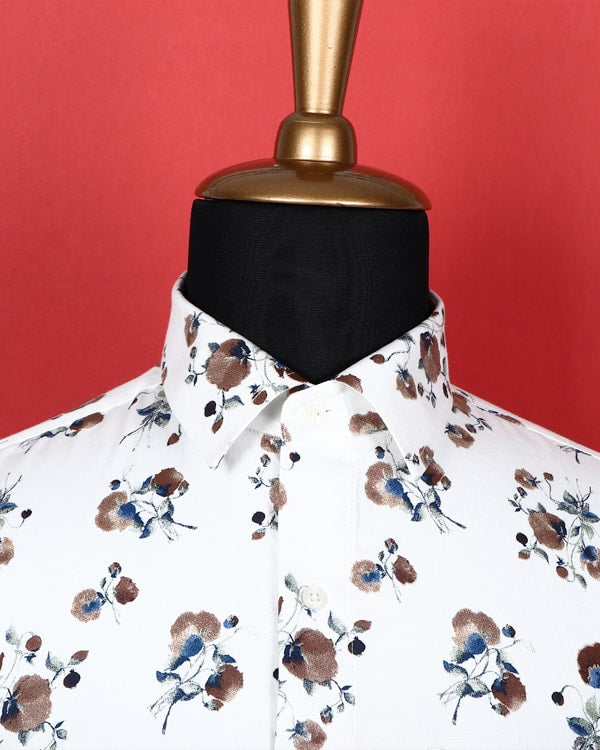 Bright white Brown Flower Printed soft Satin Shirt