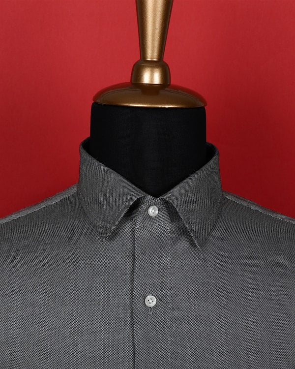 Lava Grey Giza Cotton Dobby Shirt