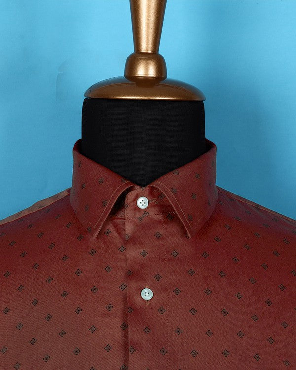 Rust Orange Printed Satin Shirt