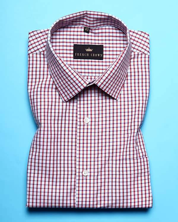 Grey and Red Micro Checked Poplin Shirt
